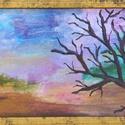 Kontraszt, Képzőművészet, Festmény, Akril, Olajfestmény, Festészet, 21*12 cm-es olaj, akril festmény. Aranyozott keretben., Meska