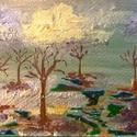 Egyszer, Képzőművészet, Festmény, Akril, Festmény vegyes technika, Festészet, 20*21 cm-es akril festmény, aranyporral és üvegfestékkel készített. Fekete paszpartuval és arany ke..., Meska