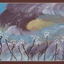 Remény, Képzőművészet, Festmény, Akril, Festészet, 36*30 cm-es akril festmény, aranyporral. Barna paszpartuval és arany kerettel., Meska
