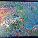 Víz és élet, Képzőművészet, Festmény, Akril, Festészet, 25*19 cm-es akril, vegyes technikával készült festmény. Álló, asztali fekete kerettel., Meska