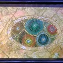Mandalák körbezárva, Képzőművészet, Festmény, Festmény vegyes technika, 14*19 cm-es vegyes technikával készített festmény. Álló, fekete, asztali kerettel., Meska