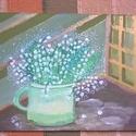 Gyöngyök a virágban, Képzőművészet, Festmény, Akril, Festészet, 30*21 cm-es akril festmény., Meska