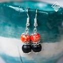 - Pegazus - ásvány fülbevaló narancssárga-fekete