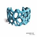 Voronoi doubleshell cuff 3d nyomtatott karkötő (türkiz) (parametricart) - Meska.hu