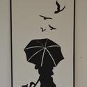 Kutyát sétáltató nő esernyővel fali kép, Otthon, lakberendezés, Dekoráció, Falikép, Kép, Famegmunkálás, Festészet, A termék mérete 65*48 cm, súlya 2 kg.  8mm vastag mdf lapot mértre vágunk, alapozás után kiváló min..., Meska