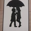 Gyerekek esernyő alatt falikép