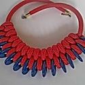 Piros-kék paracord nyaklánc, Ékszer, Vidám, egyéni, karakteres, de nem csak fiataloknak ajánlott paracord nyaklánc.  Hossza: 56 centi, Meska