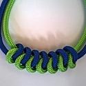 Kéken zöld duplasoros paracord nyaklánc, Ékszer, óra, Kék és zöld színű, duplasoros paracord nyaklánc azoknak, akik szeretik az egyedi, egyéni kiegészítők..., Meska