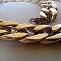 Golden eyes nyaklánc, Ékszer, óra, Nyaklánc, Minőségi cseh műanyag bizsualapanyagból készült nagyszemű, lapított láncszemekből felfűzött nyaklánc..., Meska