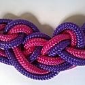 Purple rain, Ékszer, óra, Nyaklánc, Ismét egy rusztikus, nagy csomóból vagy csomóval  készített nyaklánc. Két szálat fogtam össze a hatá..., Meska