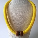 Murreus, Ékszer, óra, Nyaklánc, A 14 mm-es citromsárga braided rope cordot két sárga aventurinnal, közte egy fekete hematittal egész..., Meska