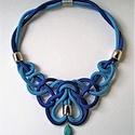 Romantic, Ékszer, óra, Nyaklánc, Acél- és karibi kék, 6 mm-es paracordból készített, romantikus stílusú nyaklánc , csepp alakú strukt..., Meska