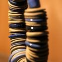 """Kerámia terrakotta """"Blue Geisha"""" nyakék., Képzőművészet, Ékszer, Vegyes technika, Nyaklánc, Kerámia, Hihetetlenül dekoratív magával ragadó darab. A lánc hossza: 46 cm. A kapocsnál és a huroknál is ráh..., Meska"""