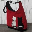 Macskapár piros színű  kord pakolós táska, Szeretem a közepes méretű táskákat, mert korl...