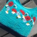 Nyári mező türkiz színű  kord pakolós táska, Szeretem a közepes méretű táskákat, mert korl...