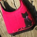 Fekete macska pink színű  kord pakolós táska, Szeretem a közepes méretű táskákat, mert korl...