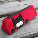 """Fekete macska piros színű kord tolltartó, Többen is a szememre """"hányták"""", miért nincs ne..."""