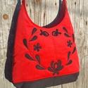 Szívből népiesen piros színű  kord pakolós táska, Szeretem a közepes méretű táskákat, mert korl...