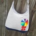 Kislány az esőben galambszürke színű  kord pakolós táska, Szeretem a közepes méretű táskákat, mert korl...