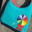 Kislány esernyővel türkiz színű  kord pakolós táska, Szeretem a közepes méretű táskákat, mert korl...
