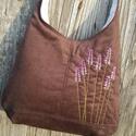 Levendulák csokibarna színű  kord pakolós táska, Táska, Válltáska, oldaltáska, Szeretem a közepes méretű táskákat, mert korlátoznak, hogy mit is vigyek magammal. De sokan a pakoló..., Meska