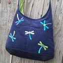 Szitakötők sötétkék színű  kord pakolós táska, Szeretem a közepes méretű táskákat, mert korl...