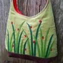 Katicák fűszálon almazöld színű  kord pakolós táska, Szeretem a közepes méretű táskákat, mert korl...