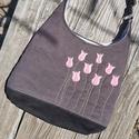 Tulipánok szürke színű  kord pakolós táska, Szeretem a közepes méretű táskákat, mert korl...