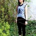 Kék, kockás, szitás blúz, Ruha, divat, cipő, Női ruha, Blúz, Felsőrész, póló, Varrás, Kék, vékony pamut vászonból készült blúz, oldalt fekete csipke. Méret: M  Fontos tudnivaló: a feltü..., Meska