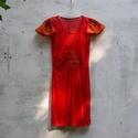 Piros tunika, Ruha, divat, cipő, Női ruha, Ruha, Piros, finom hálóból készült tunika, elején rombusz betéttel. Fodros díszujjak. Mérete: S v..., Meska