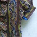 Brokát mintás boleró, Ruha, divat, cipő, Női ruha, Kabát, Poncsó, Varrás, Barnás-zöld árnyalatok, királykék színnel kombinálva. A boleró alja, nyaka, ujja  kék szatén szalag..., Meska