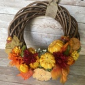 Kopogtató őszi viràgokkal és tökökkel, Kedves őszi hangulatú kopogtató, őszi színes ...