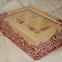 Teás doboz romantikus csipke mintával, Otthon, lakberendezés, Tárolóeszköz, Doboz, Decoupage, transzfer és szalvétatechnika, Ez a 6 rekeszes teás doboz tömör fenyőből készült, melyet decoupage technikával, romantikus, csipke..., Meska