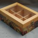 Gyümölcsös teás doboz üveg tetővel, Konyhafelszerelés, Otthon, lakberendezés, Tárolóeszköz, Decoupage, szalvétatechnika,  A 6 rekeszes, üveg tetejű teás doboz tömör fenyőből készült, melyet decoupage technikával díszítet..., Meska