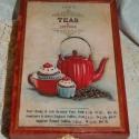Teás doboz - vintage hangulatú teás kannával, Otthon, lakberendezés, Tárolóeszköz, Doboz, Ez a 6 rekeszes teás doboz tömör fenyőből készült, melyet decoupage technikával díszítette..., Meska
