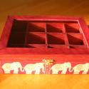teás doboz elefántos 12 rekeszes, Otthon, lakberendezés, Tárolóeszköz, Doboz, Decoupage, transzfer és szalvétatechnika, Ez a 12 rekeszes teás doboz tömör fenyőből készült, melyet decoupage technikával díszítettem. A dob..., Meska
