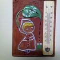 Szobahőmérő, Otthon, lakberendezés, Falikép, Mérete: 20,5 cm x 15 cm  Összetétele: agyag, ólommentes máz,barna engób, és Kolibri festék a..., Meska