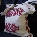 Gyönyörű beregi keresztszemes hímzéssel díszített táska, Beregi keresztszemes mintával díszített takács...