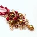 Bronz Korall csepp medál, Ékszer, Medál, Nyaklánc, Egyedi tervezésű csepp formájú medálom, melyet most bronz drótból készítettem el. Díszítésül hasonló..., Meska