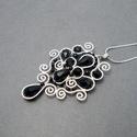 Fekete ezüst csepp medál , Legkedvesebb csepp formájú egyedi tervezésű me...