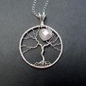 Szív életfa medál, Életfa medál aura kristállyal , Egyszerű kis életfa medál, melyet csak 1 szem r...