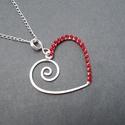 Szív medál, ezüstözött piros gyöngyös szívecske, Ékszer, óra, Medál, Nyaklánc, Kedvenc szív alapom, kicsit másképpen. Most az egyik oldalát piros kása gyöngyökkel díszítettem, így..., Meska