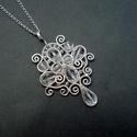 Hegyikristály ezüst csepp medál , Legkedvesebb csepp formájú egyedi tervezésű me...