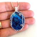 Kék abalone kagyló ezüstözött medál , Kedvencem ez a 40*30 mm-es ovális abalone kagyló...