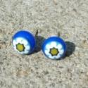 Kék virágos fülbevaló, Fusing technikával olvasztottam ezt a kék virág...