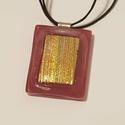 Lazac színű nyaklánc, csillogó díszítéssel, Ékszer, Nyaklánc, Spektrum üvegből készült nyaklánc arany színű, csillogó díszítéssel. Lánca viaszolt zsin..., Meska