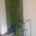 Kandallószett tartóval, Otthon, lakberendezés, Dekoráció, Kandallószett és tartó kovácsolt vasból, 90 cm, Meska