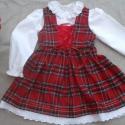 Skót kockás lányka ruha blúzzal, Baba-mama-gyerek, Ruha, divat, cipő, Gyerekruha, Baba-mama kellék, Varrás, Skót kockás lányka ruha blúzzal, elöl fűzővel szabályozható a bősége. 74-146-os  méretig készítem. ..., Meska