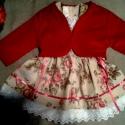 Angol rózsás lányka ruha kabáttal, Baba-mama-gyerek, Ruha, divat, cipő, Baba-mama kellék, Gyerekruha, Varrás, Angol rózsás lányka ruha kabáttal, kétoldalt fűzővel szabályozható a ruha bősége.  74-140 méretig k..., Meska