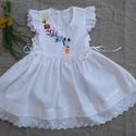 kalocsai hímzett lányka ruha, Ruha, divat, cipő, Gyerekruha, Kisgyerek (1-4 év), Gyerek (4-10 év), Varrás, Hímzés, Kalocsai hímzéssel készült lányka ruha. Kétoldalt fűzővel szabályozható a bősége. 68-140-es méretig..., Meska